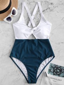 Купить zaful color blocking criss cross cut out swimsuit ( id 451539004 )