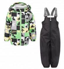 Купить комплект куртка/полукомбинезон reike динозаврики, цвет: серый/зеленый ( id 5019733 )