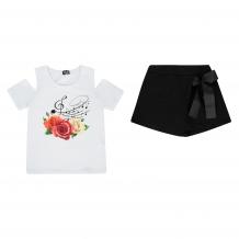 Купить комплект футболка/шорты апрель музыкальный фестиваль, цвет: белый/черный д2дш344