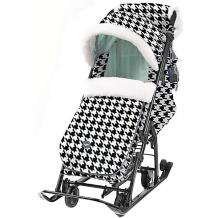 """Купить санки-коляска nika """"ника детям 7-5"""", чёрно-белые с мятным, гусиная лапка ( id 12865783 )"""