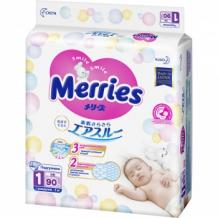 Купить подгузники merries для новорожденных, 0-5 кг, 90 шт. merries 993770342
