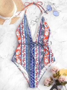 Купить zaful elephant flower halter backless swimsuit 421034005