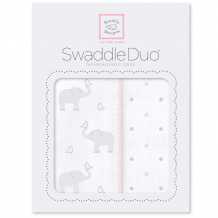 Купить набор пеленок swaddledesigns swaddle duo pp elephant, chickies, розовый swaddledesigns 997011335