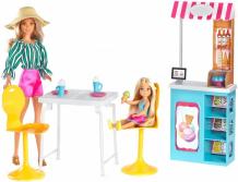 Купить barbie игровой набор магазин кафе мороженое с куклой барби и челси gbk87