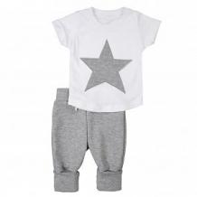 Купить комплект футболка/брюки грачонок, цвет: белый/серый ( id 12662494 )