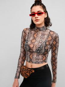 Купить mesh sheer snake print crop tee 440461805