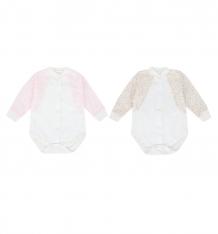 Купить комплект боди 2 шт папитто летняя, цвет: бежевый/розовый ( id 9476619 )