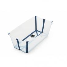 Купить ванночка складная с термочувствительной пробкой stokke flexi bath transparent blue, голубой stokke 997048751