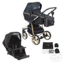 Купить коляска 2 в 1 adamex reggio special edition, цвет: кожа черная/золотые точки ( id 12043012 )