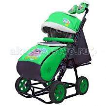 Купить санки-коляска galaxy snow city-1 совушки большие колёса