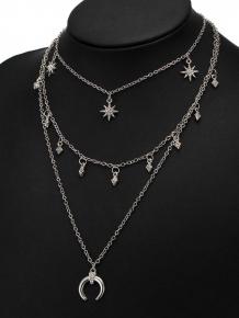 Купить rhinestone tribal moon sun layered necklace 237729202