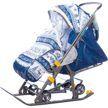 Купить санки-коляска ника нашидетки, принт скандинавcкий синий (2019) ( id 7120382 )