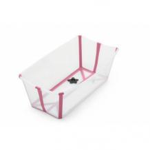 Купить ванночка складная с термочувствительной пробкой stokke flexi bath transparent pink, розовый stokke 997048744