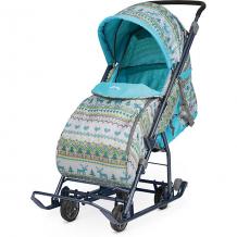 Купить санки-коляска ника детям умка 3-1/4, принт вязаный бирюзовый (2019) ( id 7120380 )