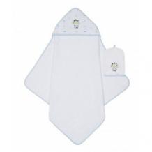 """Купить полотенце-уголок и рукавичка-мочалка """"динозаврик"""", белый, голубой mothercare 3241200"""