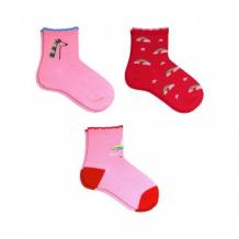 Купить носки детские, 3 пары, розовый, красный mothercare 997242265