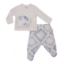 Купить комплект распашонка/ползунки kidaxi слоники, цвет: белый/голубой ( id 10600052 )