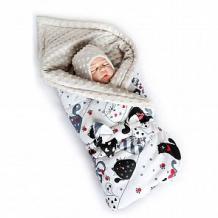 Купить комплект на выписку котики slingme, цвет: серый комбинезон/одеяло/шапка/снуд/бант 90 х 90 см ( id 12797962 )