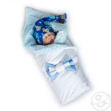 Купить комплект на выписку топтышка slingme, цвет: синий комбинезон/одеяло/шапка/снуд/бант 90 х 90 см ( id 12797968 )