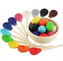 Купить деревянная игрушка уланик сортер монтессори яички и ложки 12 цветов sya01c1203u