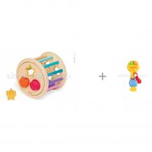 Купить сортер janod колесо с фигурами и музыкальный брелок habby baby pip-pip keys