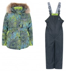 Купить комплект куртка/комбинезон kvartett, цвет: серый/салатовый 405