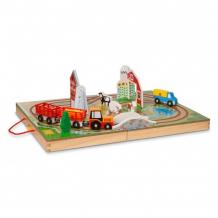 Купить деревянная игрушка melissa & doug транспортный набор в чемоданчике ферма 30142