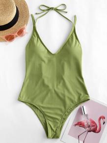 Купить zaful halter high cut open back one-piece swimsuit ( id 454334106 )