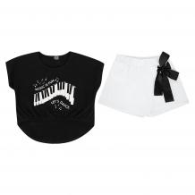 Купить комплект футболка/шорты апрель музыкальный фестиваль, цвет: черный/белый д2дш342