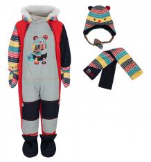 Купить fobs комплект комбинезон/шарф/варежки/пинетки, цвет: красный 7100