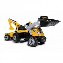 Купить smoby трактор педальный строительный с 2-мя ковшами и прицепом