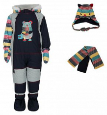 Купить комплект fobs комбинезон/шарф/варежки/пинетки, цвет: синий ( id 9816279 )
