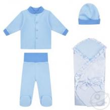 Купить комплект на выписку мерцание leader kids, цвет: голубой одеяло/кофта/ползунки/шапочка ( id 12334960 )