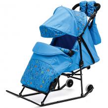 Купить санки-коляска abc academy зимняя сказка 3в авто, черная рама, голубой/зоопарк 5203341
