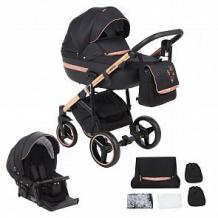 Купить коляска 2 в 1 adamex cortina special edition, цвет: кожа черная/черный/бронза ( id 12015028 )