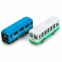 Набор машинок Технопарк Городской транспорт Вагон метро и автобус 8 см ( ID 3335693 )