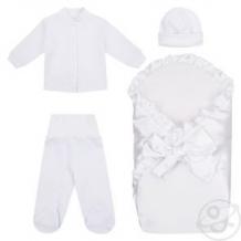 Купить комплект на выписку мерцание leader kids, цвет: белый одеяло/кофта/ползунки/шапочка ( id 12334972 )