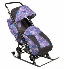 Санки-коляска Galaxy Снежинка Универсал, цвет: елки на фиолетовом ( ID 6876787 )