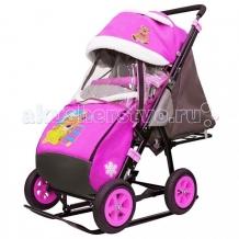 Купить санки-коляска galaxy snow city-1-1 мишка со звездой колеса надувные