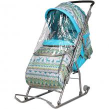 Купить санки-коляска ника детям умка 3/4, принт вязаный бирюзовый ( id 7120376 )
