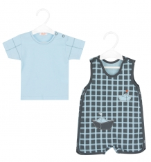 Купить комплект футболка/полукомбинезон sofija gabrys, цвет: голубой/синий ( id 8846359 )