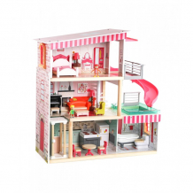 Купить topbright деревянный кукольный домик с лифтом и бассейном 120426