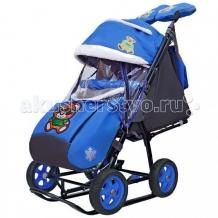 Купить санки-коляска galaxy snow city-1 зелёный мишка на больших колесах