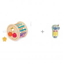 Купить сортер janod колесо с фигурами и игрушка мобильный телефон chicco