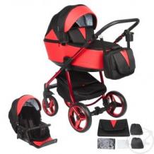 Купить коляска 2 в 1 adamex sierra special edition, цвет: кожа красная/черный жаккард ( id 11542138 )