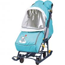 """Купить санки-коляска nika """"наши детки"""", голубые с медвежонком ( id 12865803 )"""