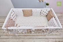 Купить бортик в кроватку mama relax кофейные звезды (12 подушек)