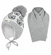 Купить комплект шапка/шарф ewa yogi, цвет: серый ( id 9781974 )