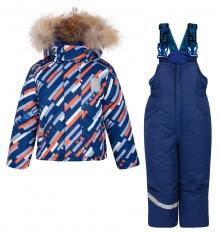 Купить комплект куртка/полукомбинезон stella космос, цвет: синий/оранжевый м-337/2