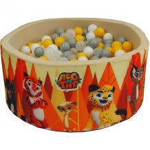 """Купить сухой бассейн hotenok """"лео и тиг"""", бежевый с оранжевыми деревьями, 40 см, 200 шариков ( id 12191126 )"""